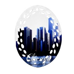 Abstract Of Downtown Chicago Effects Oval Filigree Ornament (two Sides) by Simbadda
