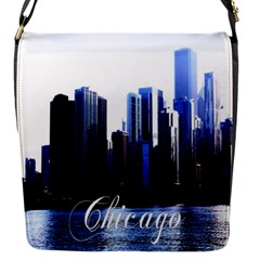 Abstract Of Downtown Chicago Effects Flap Messenger Bag (s) by Simbadda
