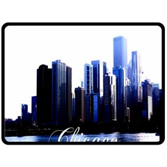 Abstract Of Downtown Chicago Effects Double Sided Fleece Blanket (large)  by Simbadda