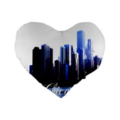 Abstract Of Downtown Chicago Effects Standard 16  Premium Flano Heart Shape Cushions by Simbadda