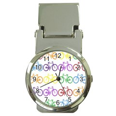 Rainbow Colors Bright Colorful Bicycles Wallpaper Background Money Clip Watches by Simbadda