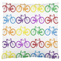 Rainbow Colors Bright Colorful Bicycles Wallpaper Background Large Flano Cushion Case (two Sides) by Simbadda