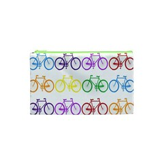 Rainbow Colors Bright Colorful Bicycles Wallpaper Background Cosmetic Bag (xs) by Simbadda