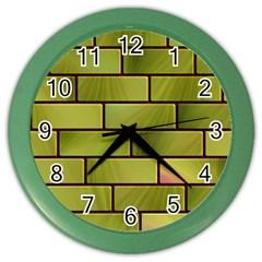 Modern Green Bricks Background Image Color Wall Clocks by Simbadda