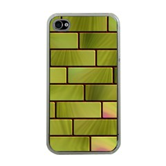 Modern Green Bricks Background Image Apple Iphone 4 Case (clear) by Simbadda
