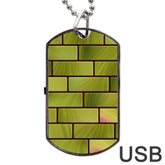 Modern Green Bricks Background Image Dog Tag Usb Flash (one Side) by Simbadda