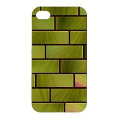 Modern Green Bricks Background Image Apple Iphone 4/4s Premium Hardshell Case by Simbadda