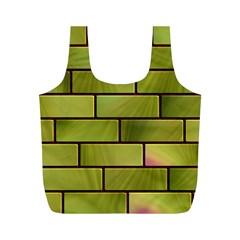 Modern Green Bricks Background Image Full Print Recycle Bags (m)  by Simbadda