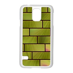 Modern Green Bricks Background Image Samsung Galaxy S5 Case (white) by Simbadda