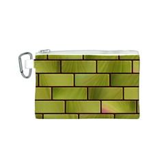 Modern Green Bricks Background Image Canvas Cosmetic Bag (s) by Simbadda