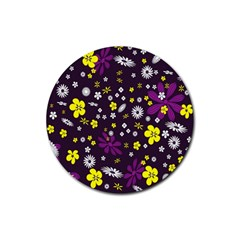 Flowers Floral Background Colorful Vintage Retro Busy Wallpaper Rubber Coaster (round)  by Simbadda
