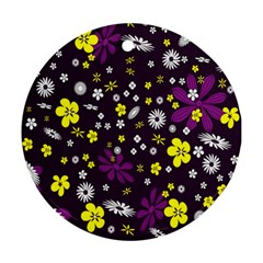 Flowers Floral Background Colorful Vintage Retro Busy Wallpaper Round Ornament (two Sides) by Simbadda