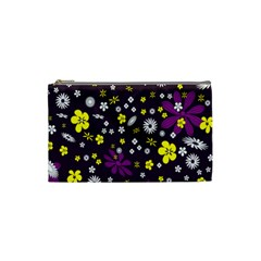 Flowers Floral Background Colorful Vintage Retro Busy Wallpaper Cosmetic Bag (small)  by Simbadda
