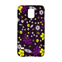 Flowers Floral Background Colorful Vintage Retro Busy Wallpaper Samsung Galaxy S5 Hardshell Case  by Simbadda