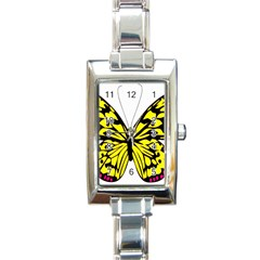 Yellow A Colorful Butterfly Image Rectangle Italian Charm Watch by Simbadda