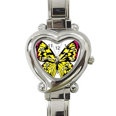 Yellow A Colorful Butterfly Image Heart Italian Charm Watch by Simbadda