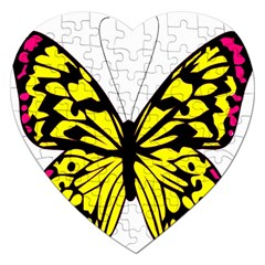 Yellow A Colorful Butterfly Image Jigsaw Puzzle (heart) by Simbadda