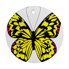 Yellow A Colorful Butterfly Image Round Ornament (two Sides) by Simbadda