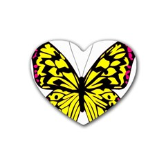 Yellow A Colorful Butterfly Image Heart Coaster (4 Pack)  by Simbadda