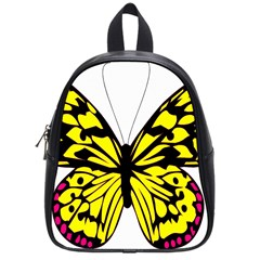 Yellow A Colorful Butterfly Image School Bags (small)  by Simbadda