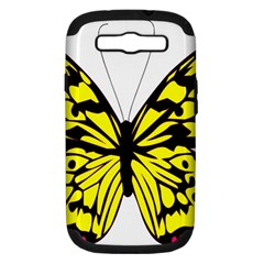 Yellow A Colorful Butterfly Image Samsung Galaxy S Iii Hardshell Case (pc+silicone) by Simbadda