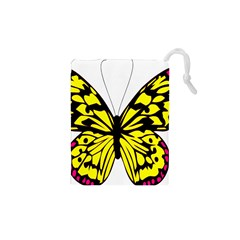Yellow A Colorful Butterfly Image Drawstring Pouches (xs)  by Simbadda
