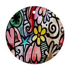 Digitally Painted Abstract Doodle Texture Ornament (round) by Simbadda