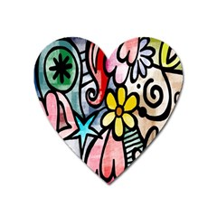 Digitally Painted Abstract Doodle Texture Heart Magnet by Simbadda