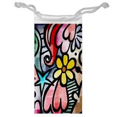 Digitally Painted Abstract Doodle Texture Jewelry Bag by Simbadda