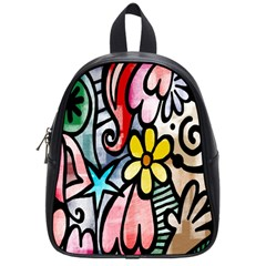 Digitally Painted Abstract Doodle Texture School Bags (small)  by Simbadda