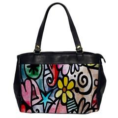 Digitally Painted Abstract Doodle Texture Office Handbags by Simbadda