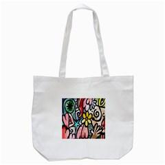 Digitally Painted Abstract Doodle Texture Tote Bag (white) by Simbadda