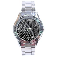 Abstract Architecture Pattern Stainless Steel Analogue Watch by Simbadda