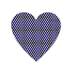 Squares Blue Background Heart Magnet by Simbadda