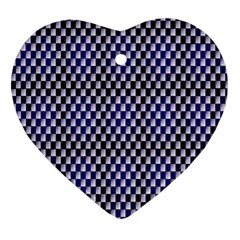 Squares Blue Background Heart Ornament (two Sides) by Simbadda