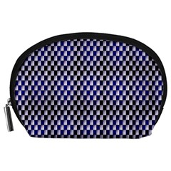 Squares Blue Background Accessory Pouches (Large)  by Simbadda