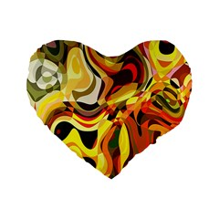Colourful Abstract Background Design Standard 16  Premium Heart Shape Cushions by Simbadda