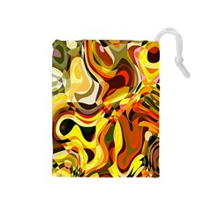 Colourful Abstract Background Design Drawstring Pouches (medium)  by Simbadda