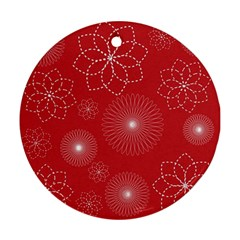 Floral Spirals Wallpaper Background Red Pattern Ornament (round) by Simbadda