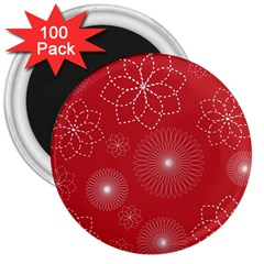 Floral Spirals Wallpaper Background Red Pattern 3  Magnets (100 Pack) by Simbadda