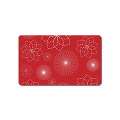 Floral Spirals Wallpaper Background Red Pattern Magnet (name Card) by Simbadda