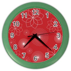 Floral Spirals Wallpaper Background Red Pattern Color Wall Clocks by Simbadda