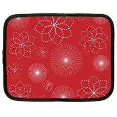 Floral Spirals Wallpaper Background Red Pattern Netbook Case (large)