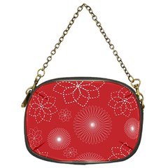Floral Spirals Wallpaper Background Red Pattern Chain Purses (one Side)  by Simbadda