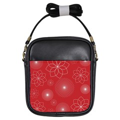 Floral Spirals Wallpaper Background Red Pattern Girls Sling Bags by Simbadda