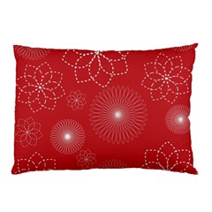 Floral Spirals Wallpaper Background Red Pattern Pillow Case (two Sides) by Simbadda