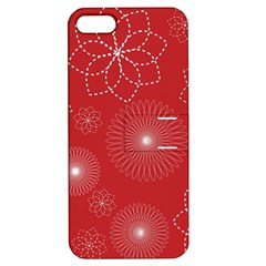 Floral Spirals Wallpaper Background Red Pattern Apple Iphone 5 Hardshell Case With Stand by Simbadda