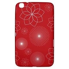 Floral Spirals Wallpaper Background Red Pattern Samsung Galaxy Tab 3 (8 ) T3100 Hardshell Case  by Simbadda