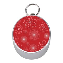 Floral Spirals Wallpaper Background Red Pattern Mini Silver Compasses by Simbadda
