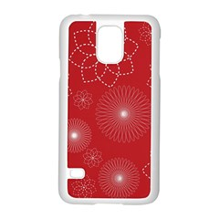 Floral Spirals Wallpaper Background Red Pattern Samsung Galaxy S5 Case (white) by Simbadda